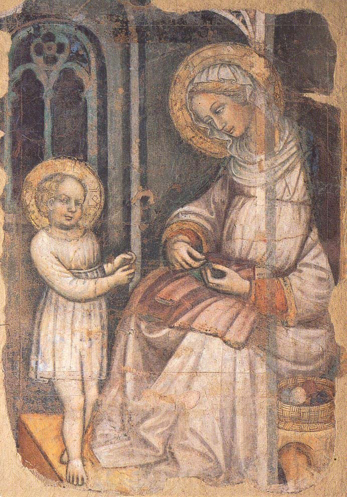 Master of Bambino Vispo - Saint Anne and the Young Virgin Sewing (early 15th century)