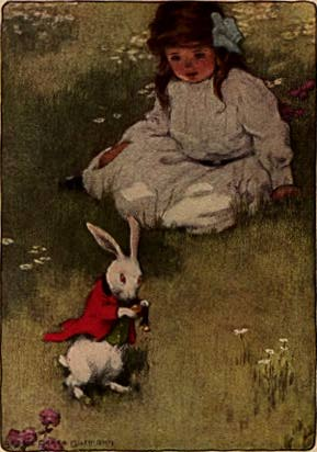 Bessie Pease Gutmann - Alice and White Rabbit (1907)