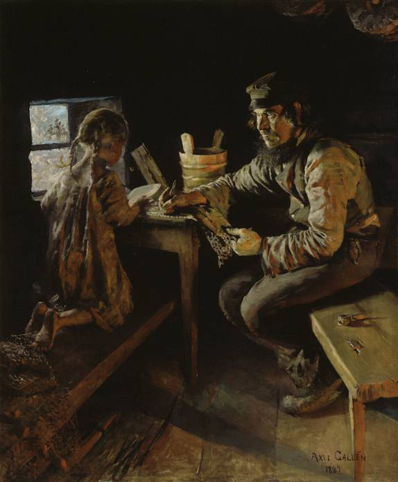 Akseli Gallen-Kallela – The First Lesson (1889)