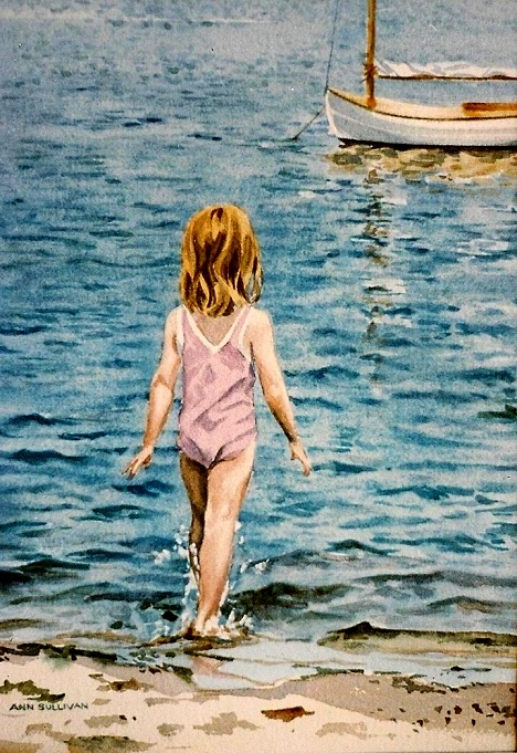 Ann Sullivan – Little Girl in Pink Swimsuit and Beetle Cat, Bass River, Cape Cod
