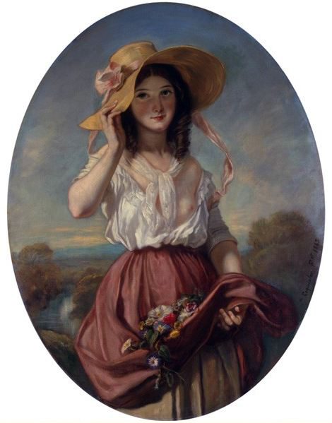 Camille Roqueplan – Girl with Flowers (1843) (2)