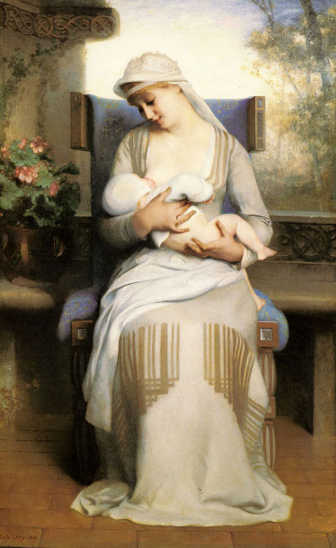 Émile Lévy - Young Mother Feeding Her Baby