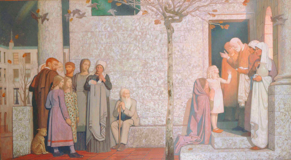 Frederick Cayley Robinson – Acts of Mercy – The Doctor (right panel)