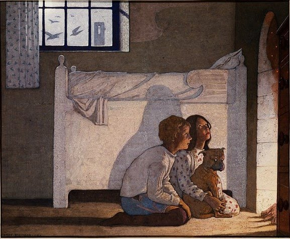 Frederick Cayley Robinson – The Blue Bird – Children by the Fireside Recounting Their Adventures