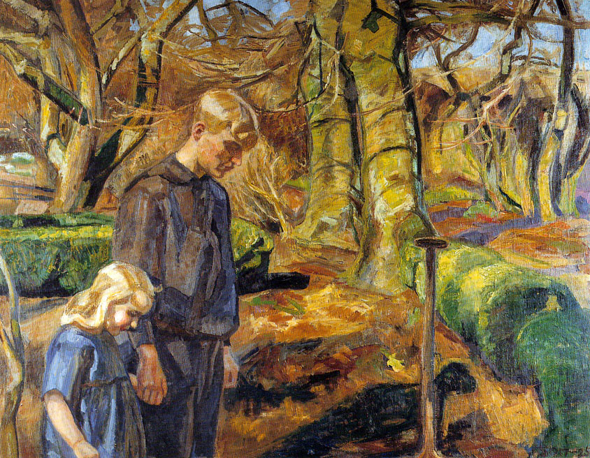 Fritz Syberg – To børn begraver en fugl (Two Children Burying a Bird) (1925)