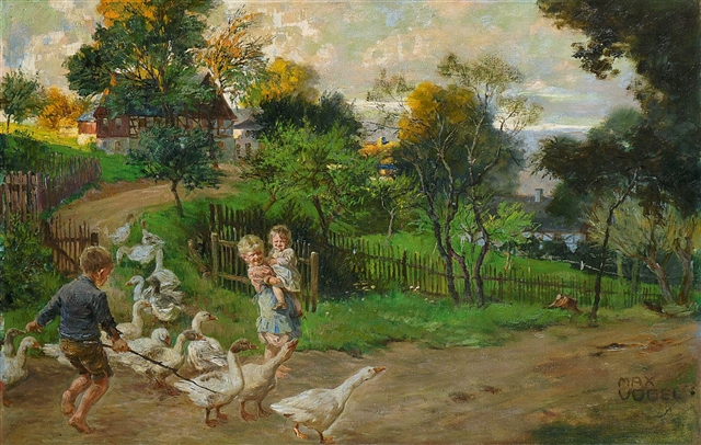 Heinrich Max Vogel – Kinder mit Gänseschar (Children with a Gaggle of Geese)
