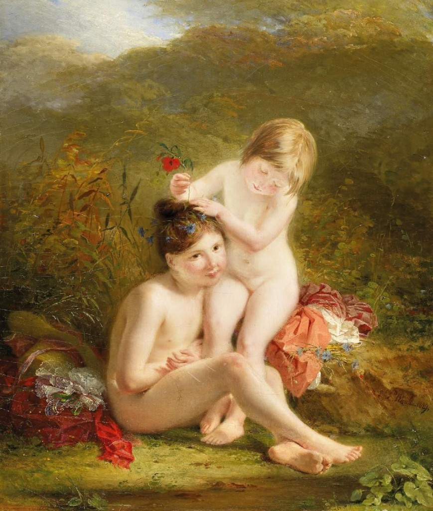 louis-c3a9douard-rioult-two-sisters-by-the-banks-18291