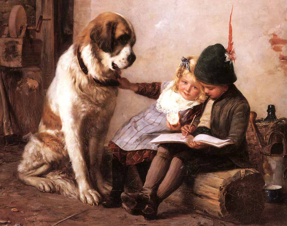 Paul Hermann Wagner – The Drawing Lesson with St. Bernard – The Siblings Willi and Maria Strauss