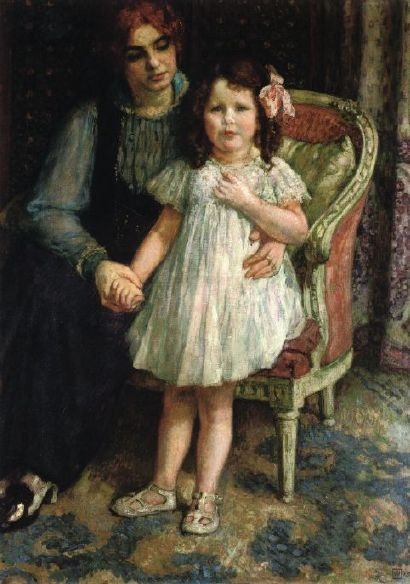 Théo van Rysselberghe – Portrait of Madame Goldner-Max and Her Daughter Juliette