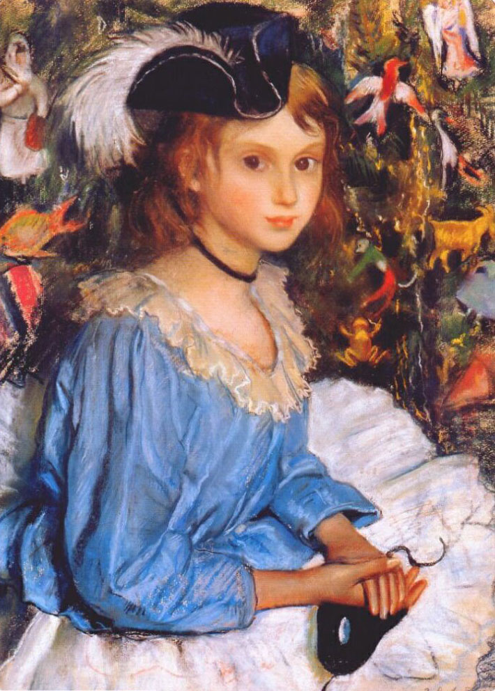Zinaida Serebriakova - Katya in Blue Dress by Christmas Tree (1922)
