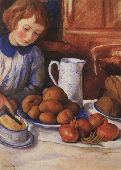 Zinaida Serebriakova - Katya at the Kitchen Table (1923)
