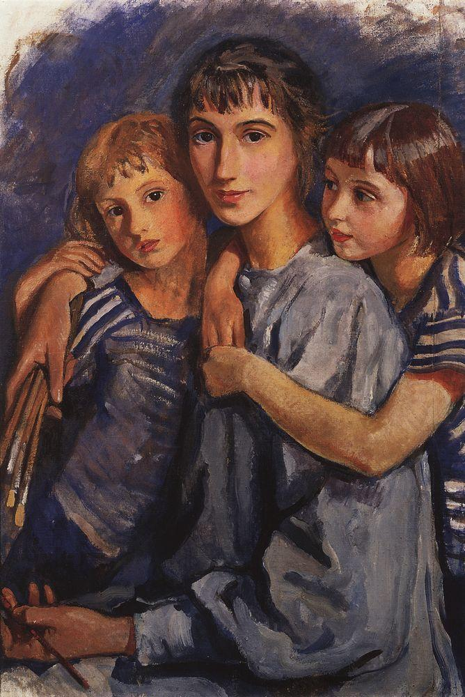 Zinaida Serebriakova - Self-Portrait with Daughters (1918)