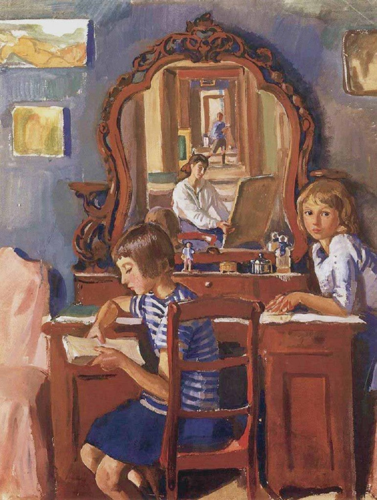 Zinaida Serebriakova - Tata and Katia in the Mirror (1917)