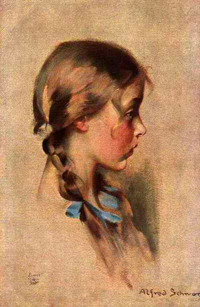 Alfred Schwarz - Evie: Lovely Girl with Pigtails and Blue Bows (c1900)