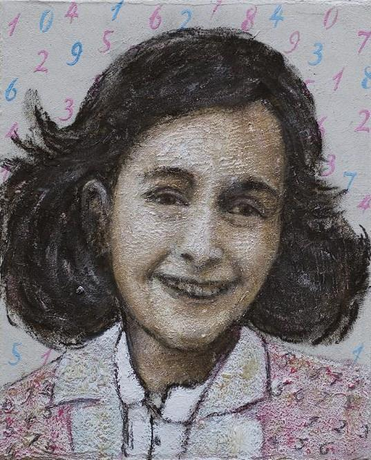 Francine Mayran - Anne Frank - 30cm x 40 cm oil on canvas covered with concrete