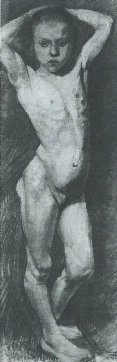 Paula Becker - Standing Girl Nude with Her Hands Behind Her Head, c. 1899 (cat. 107)
