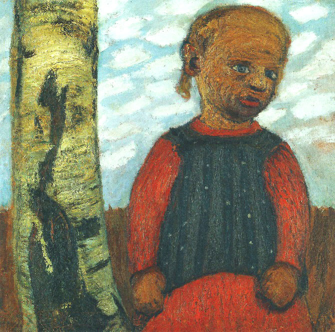 Paula Modersohn-Becker - Girl in a Red Dress at a Tree Trunk in Front of a Background of a Clouded Sky, c. 1905 (cat. 57)