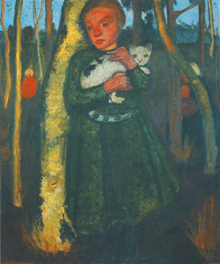 Paula Modersohn-Becker - Girl in a Birch Forest with a Cat, 1904 (cat. 48)