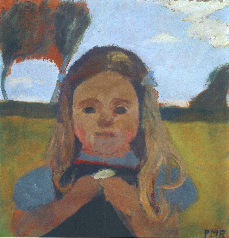 Paula Modersohn-Becker - Bust of Elsbeth with a Flower in Her Hands in Front of a Landscape, c. 1901 (cat. 15)