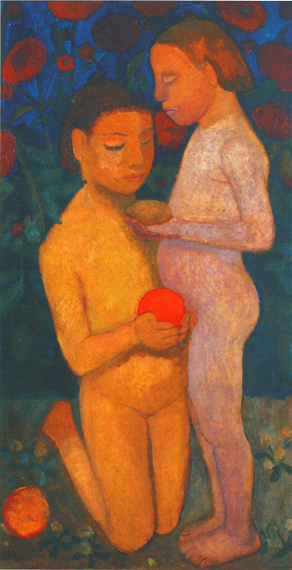 Paula Modersohn-Becker - Kneeling and Standing Girls Nude, Poppies in the Background II,  1906 (cat. 73)
