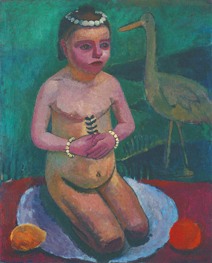 Paula Modersohn-Becker - Kneeling Girl Nude with a Stork, 1906/07 (cat. 87)