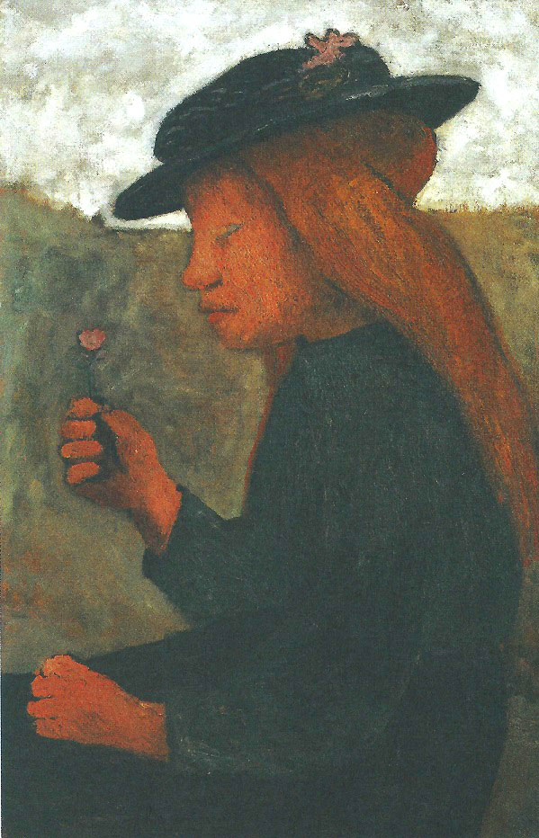 Paula Modersohn-Becker - Seated Girl with a Black Hat and a Flower in Her Right Hand, c. 1903 (cat. 32)