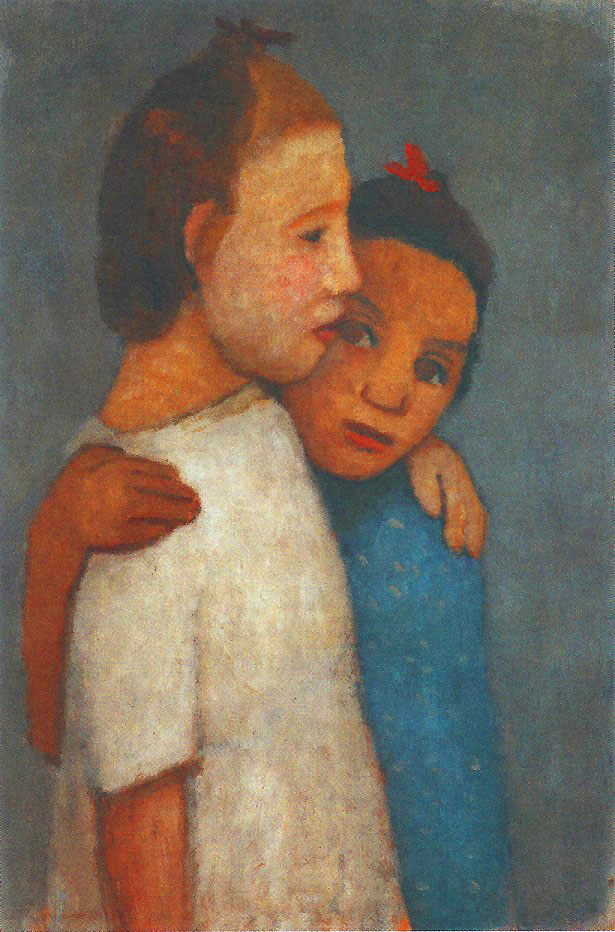 Paula Modersohn-Becker - Two Girls in White and Blue Dresses, May/June 1906 (cat. 72)