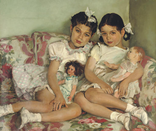 Sergei Petrovich Ivanov - Portrait of Two Young Girls with Dolls (1949)