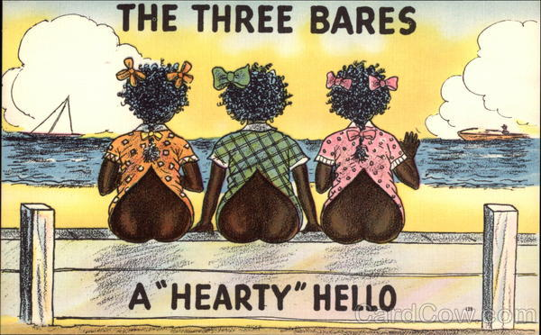 The Three Bares Postcard (Black version) (1920s)