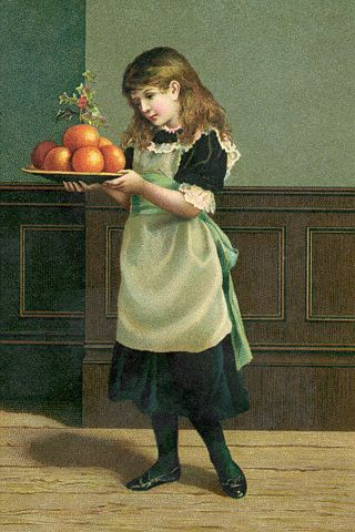 19th-Century Illustration of a Young Girl Preparing for the Christmas Season (c1900)