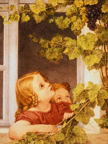 Düsseldorf School of Painting - Girls Looking Out Window at Grapevines (19th Century)