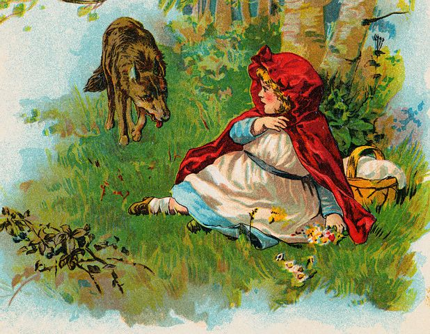 Bettmann - Illustration of Wolf Approaching Little Red Riding Hood
