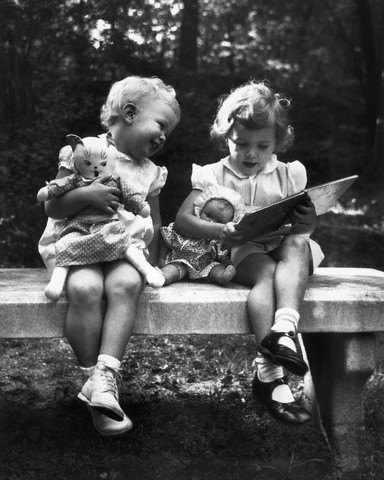 Philip Gendreau - Girls Holding Dolls Seated on Bench (1940s)