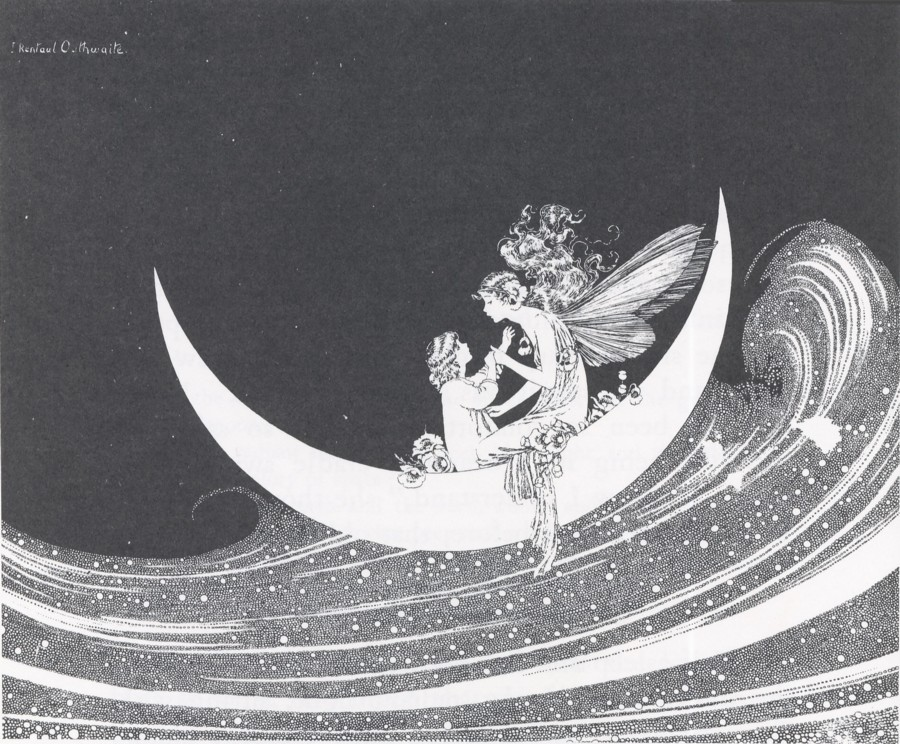 Ida Rentoul Outhwaite - Anne Rides on the Heavenly River from the book The Enchanted Forest (1921)