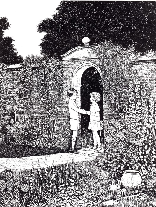 Ida Rentoul Outhwaite - Always they Said Goodbye at the Little Green Door from the book Blossom: a Fairy Story (1928)