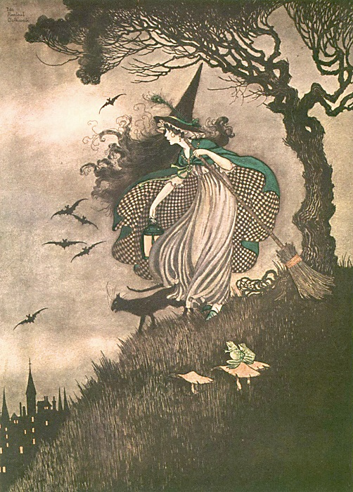 Ida Rentoul Outhwaite - The Little Witch from the book Elves and Fairies (1916)