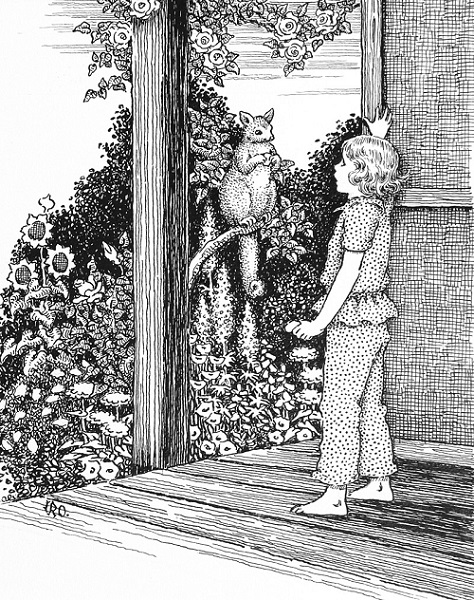 Ida Rentoul Outhwaite - Prue and the Possum from the book Legends of the Outback (1958)