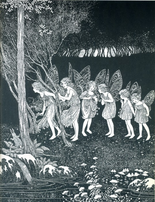 Ida Rentoul Outhwaite - Then the Fairies Came from the book The Little Green Road to Fairyland (1922)
