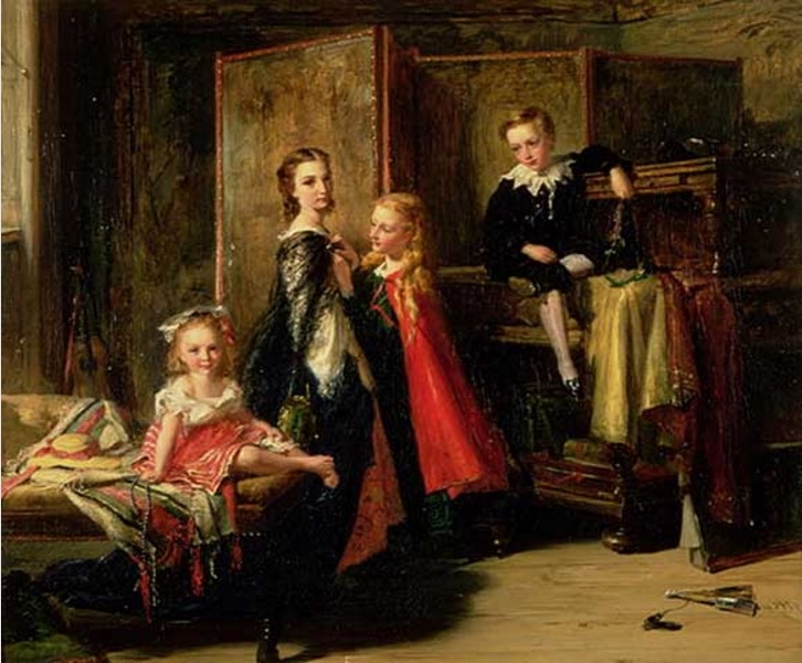 Robert Herdman - Dressing for the Charade The Children of Patrick Allan Fraser (1866)