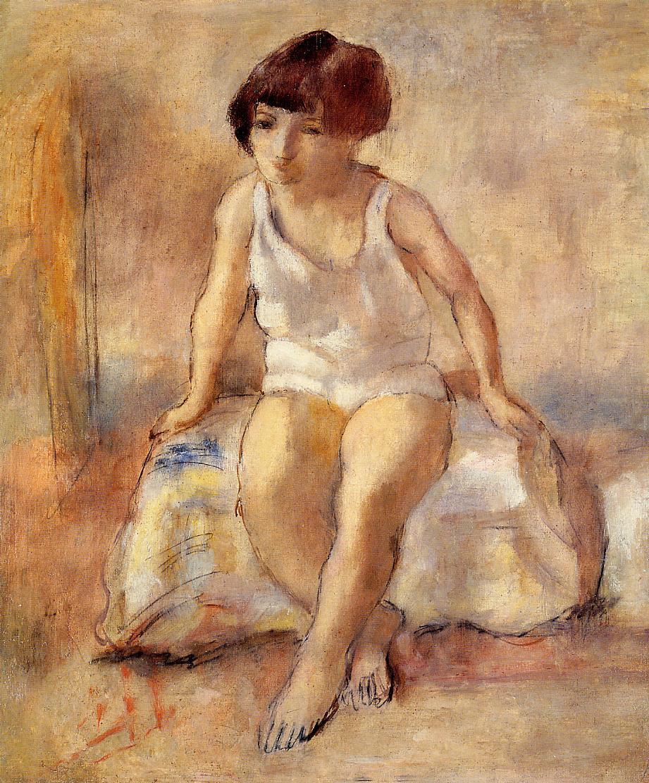 Jules Pascin - Little girl in a white shirt