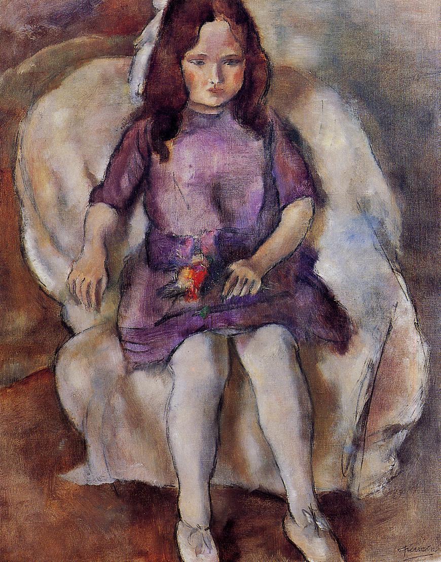 Jules Pascin - Little girl with a bouquet