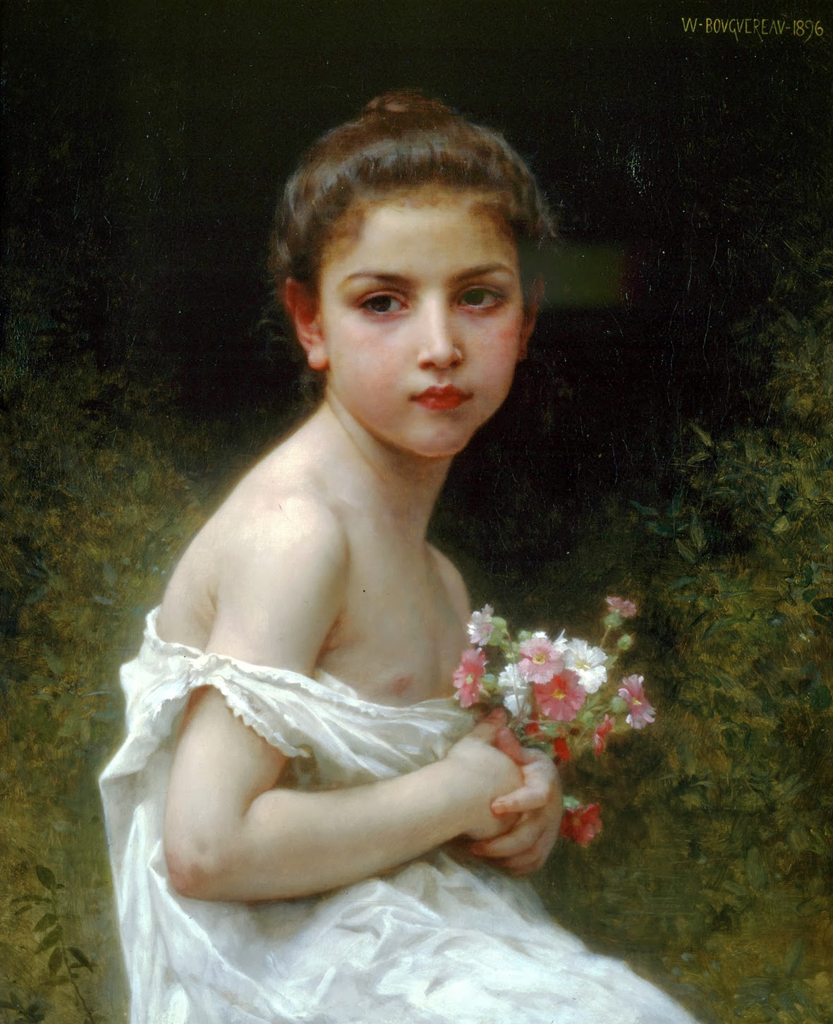 William-Adolphe Bouguereau - Petite fille au bouquet