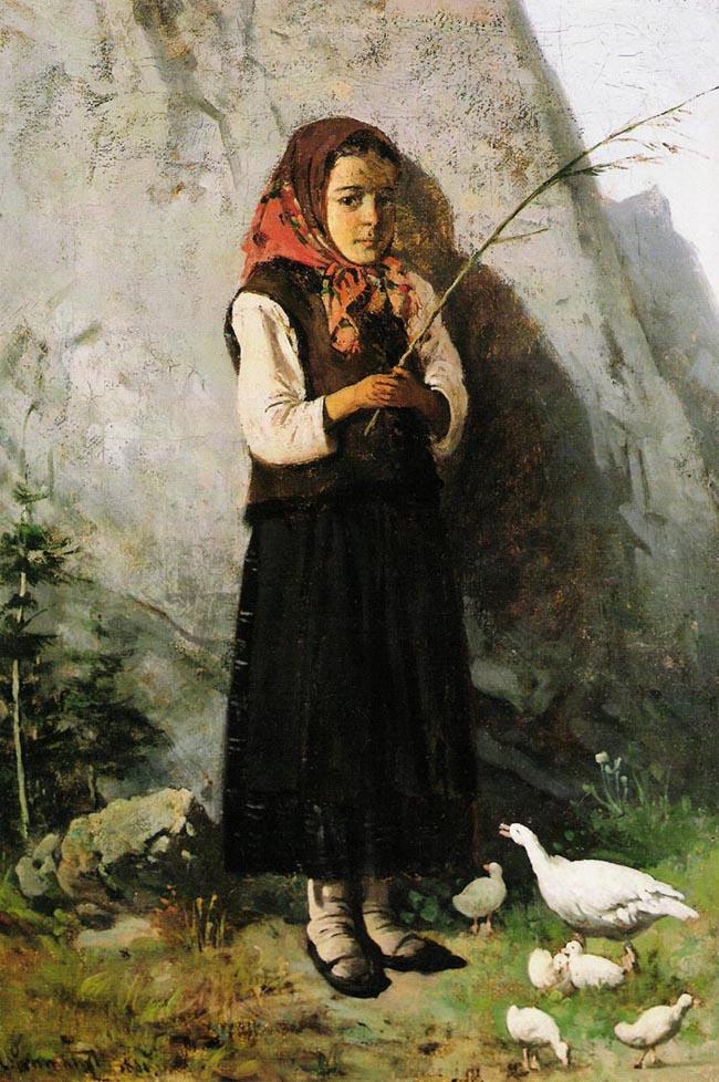 Antoni Gramatyka - Girl with geese (1881)