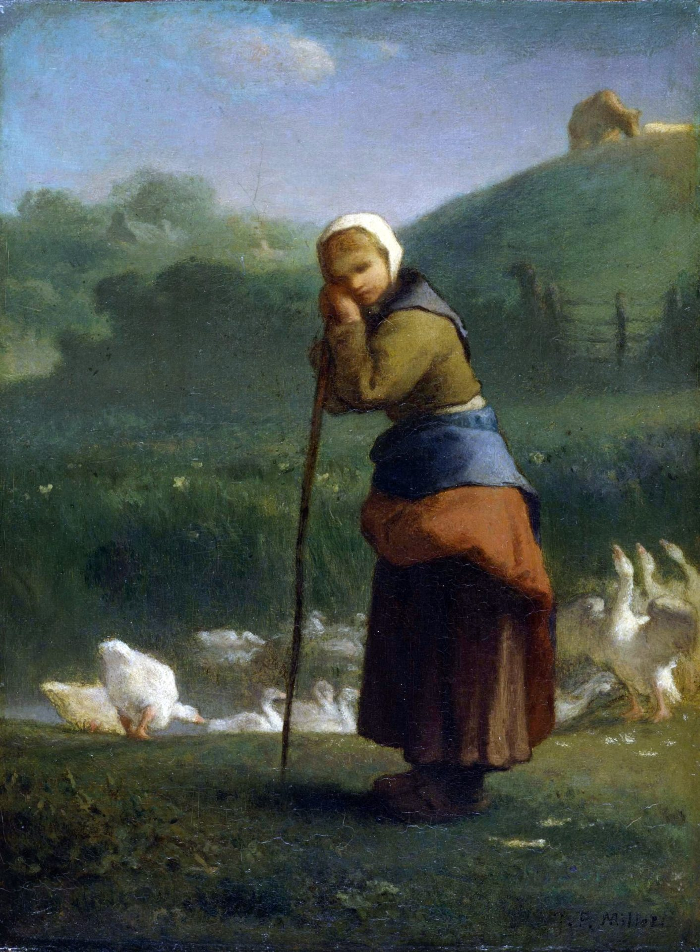 Jean-Francois Millet - The goose girl at Gruchy (1856)
