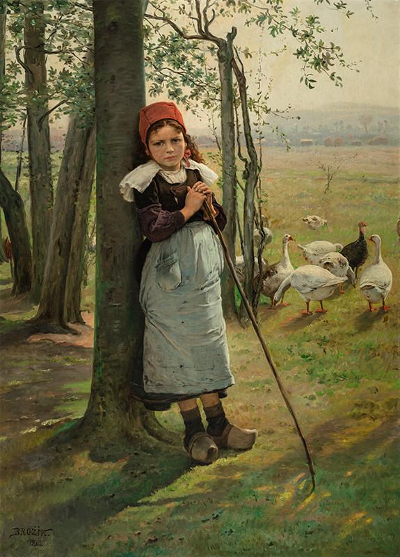 Václav Brožík - Goose girl (1880s)